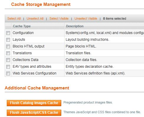 Cache Storage Management in Magento