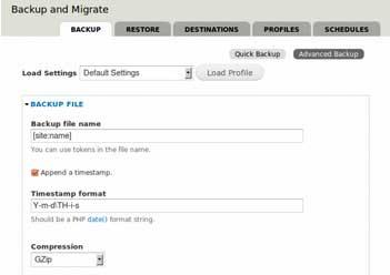 Preview of Backup and Migrate module