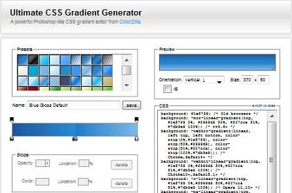 "Preview Of "" Ultimate CSS Gradient Generator "" Application"