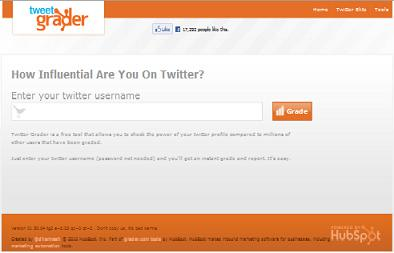 Preview of Twitter Grader tool