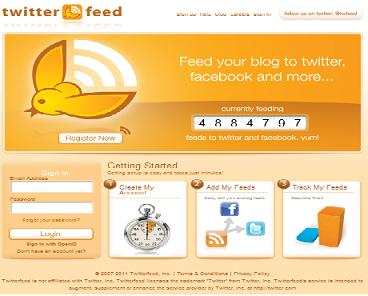 Preview of Twitterfeed tool